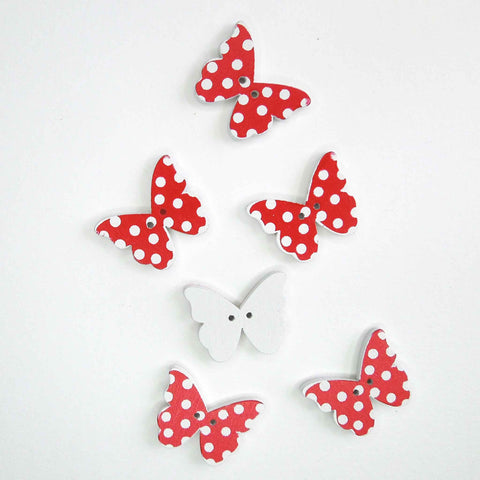 Red Butterfly Wood Buttons, 2 Holes, Pack of 6 Buttons