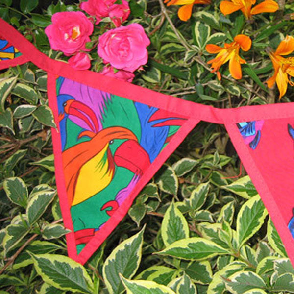 Red Circus, Parrots, Dolphins Bunting