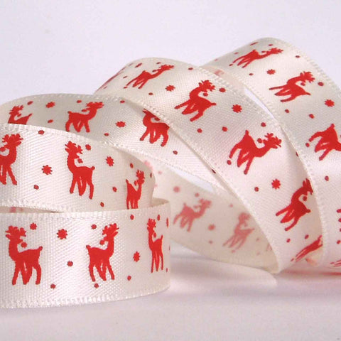 15 mm Christmas Red Reindeer Satin Ribbon, 5/8 inch Xmas Red Reindeer on White Ribbon - Fabric and Ribbon
