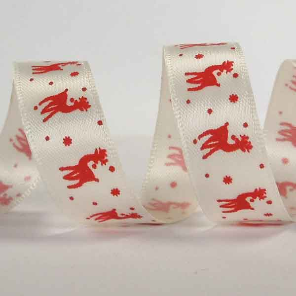 15 mm Red Reindeer Christmas Satin Ribbon, 5/8 inch Xmas Red Reindeer on White Satin Ribbon