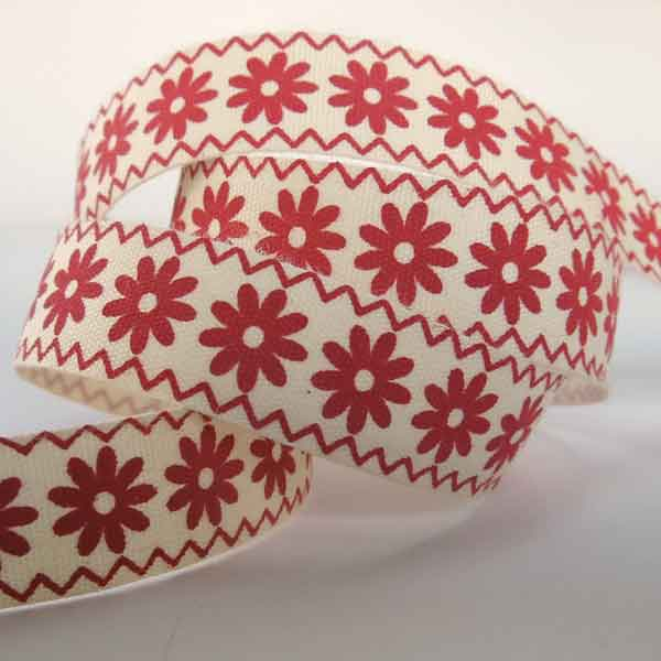 15 mm Red Flowers Cotton Ribbon, 5/8 inch Red Daisy Natural Cotton Tape
