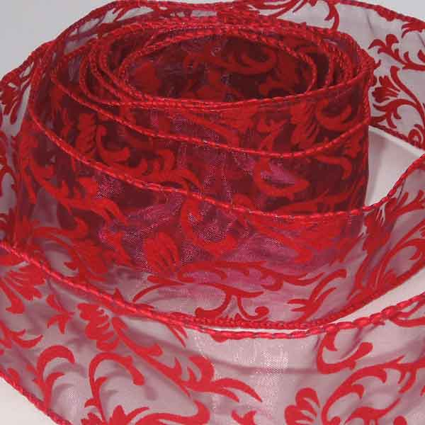 50 mm Red Floral Ribbon, 2 inch Deep Red Flowers and Foliage Wired Decorative Ribbon