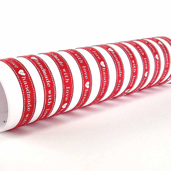 10 mm Red handmade with love Grosgrain Ribbon