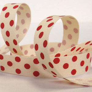 15 mm Red Polka Dot Grosgrain Ribbon, 5/8 inch Red on Cream Polka Dot Ribbon
