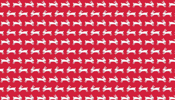 Red Jumping Rabbits Cotton Fabric by Andover Fabrics A8487-BR Forest Talk Collection