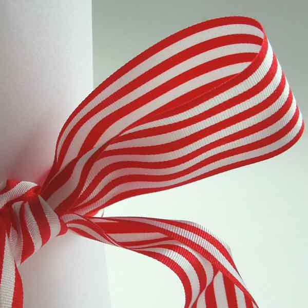 Red and White Striped Ribbon, 9 mm, 16 mm, 25 mm Width