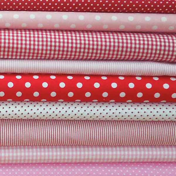 Red Stripe Fabric, Red and White Narrow Striped Cotton Fabric