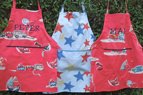 Young Child's Personalised Apron, Red Boys Toys Apron, Kids Red Retro Apron, Handmade in Train & Car Pure Cotton, Ages 2 - 6 yrs