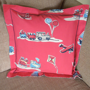 Child's Red Boys Toys Cushion Handmade in Red Retro Toys Cotton, 21 inch x 21 inch, 53 cm x 53 cm