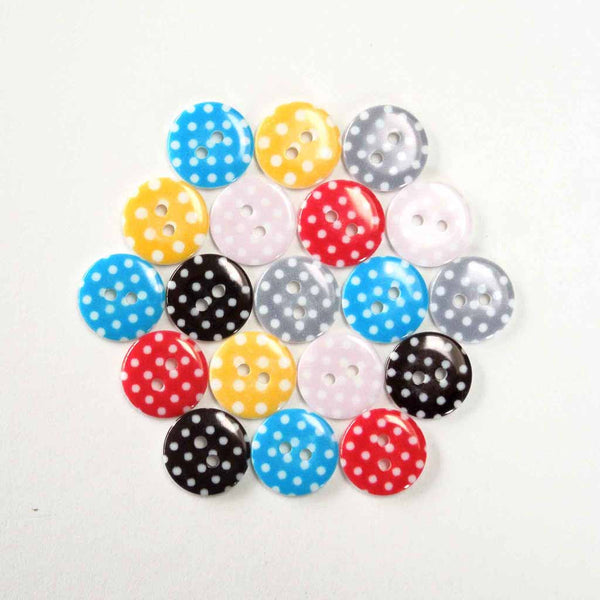 15 mm Yellow Small Polka Dot Buttons, Pack of 10 Yellow Buttons