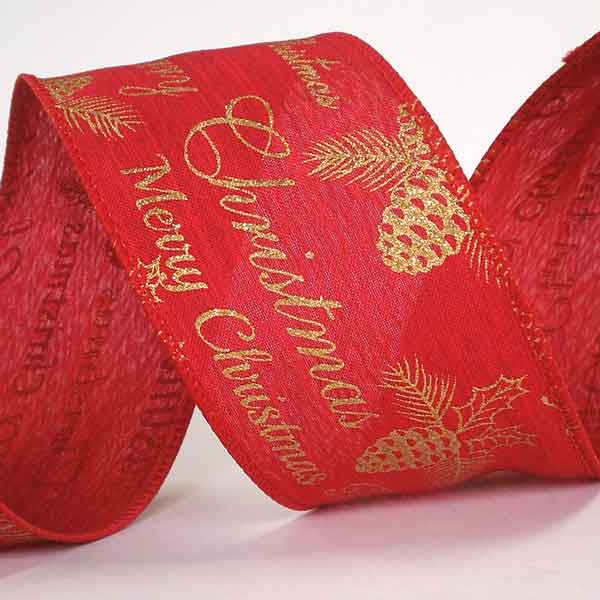 63 mm Merry Christmas Red and Gold Glitter Ribbon, 2 and 3/8 inch Gold Merry Christmas on Red Glitter Wired Decorative Ribbon