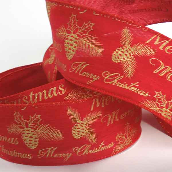 63 mm Merry Christmas Red and Gold Glitter Ribbon, 2 and 3/8 inch Gold Merry Xmas Red Wired Ribbon - Fabric and Ribbon