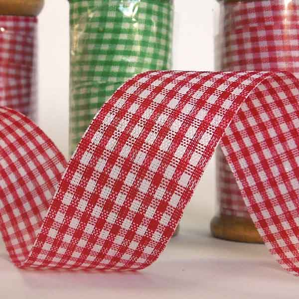 25 mm Red Gingham Ribbon on a Wooden Spool, 5 Metres Red Gift Wrap Ribbon