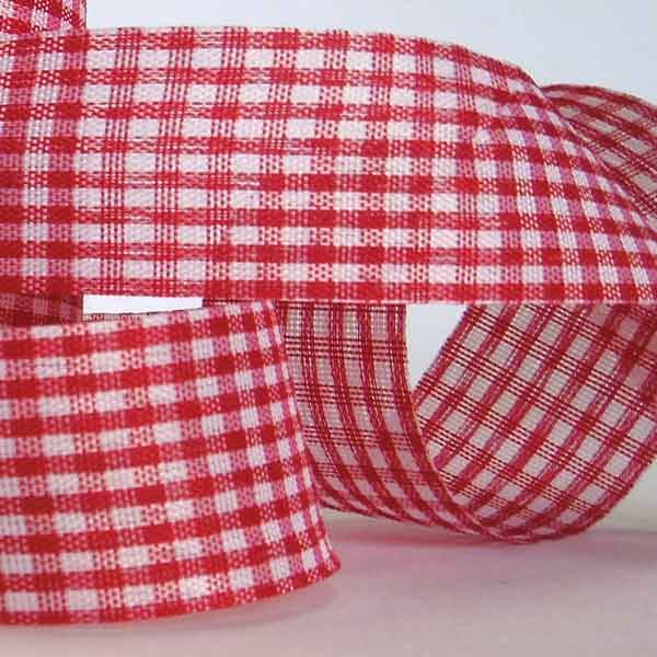 25 mm Red Gingham Ribbon on a Wooden Spool, 5 Metres Red Gift Wrap Ribbon - Fabric and Ribbon