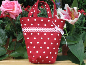 Red Polka Dot Linen Bucket Handbag with Gingham and Ribbon Decoration, handmade in pure Linen and fully lined.