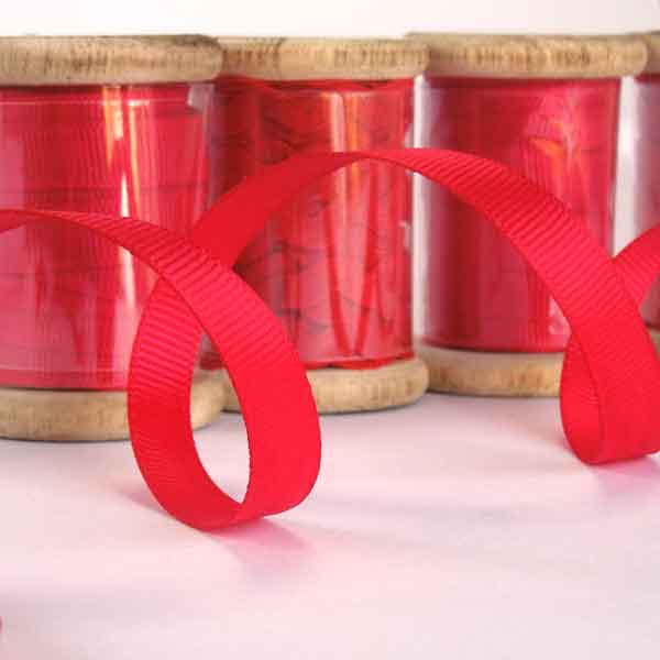 10 mm Red Ribbon on a Wooden Bobbin, 3 Metres of 3/8 inch Red Plain Ribbon