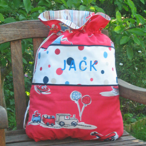 Child's Personalised Red Boys Toys Toy Sack,  Kid's Reversible Red Cars Drawstring Storage Bag