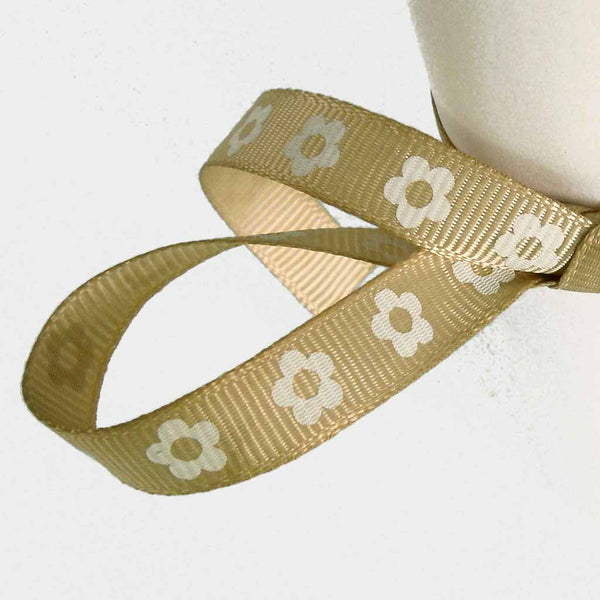10 mm Sand Flower Ribbon on Wooden Bobbin