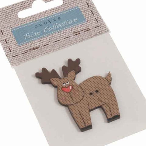 50 mm Christmas Reindeer Wooden Button, Xmas Large Reindeer Fabric Covered Wooden Button - Fabric and Ribbon