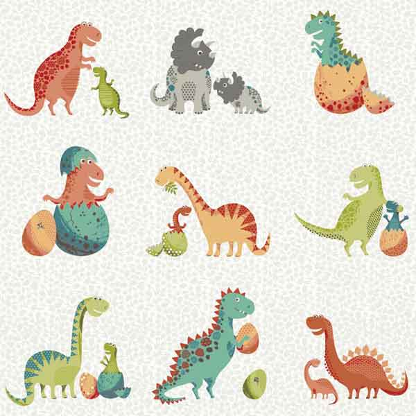 White Baby, Mummy and Daddy Dinosaur Cotton Fabric by Makower from their Rex Collection, Kid's Dinosaur Family Cotton Fabric