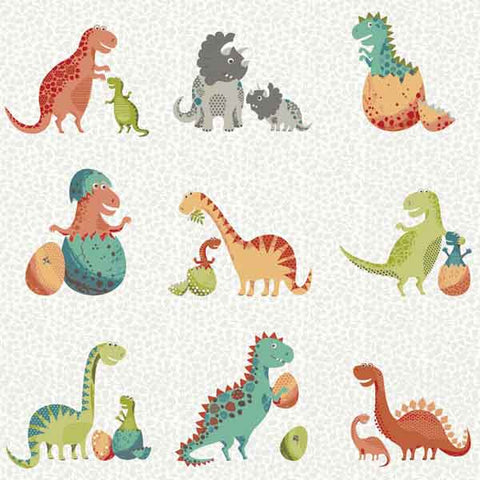 Dinosaurs on White Cotton Fabric by Makower 1894/S from their Rex Collection, Kid's Dinosaur Family Cotton Fabric - Fabric and Ribbon