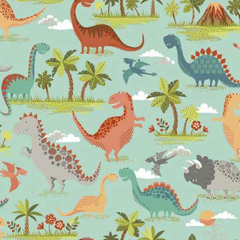 Kid's Scenic Turquoise Dinosaur Fabric by Makower 1895/1 from their Rex Collection - Fabric and Ribbon