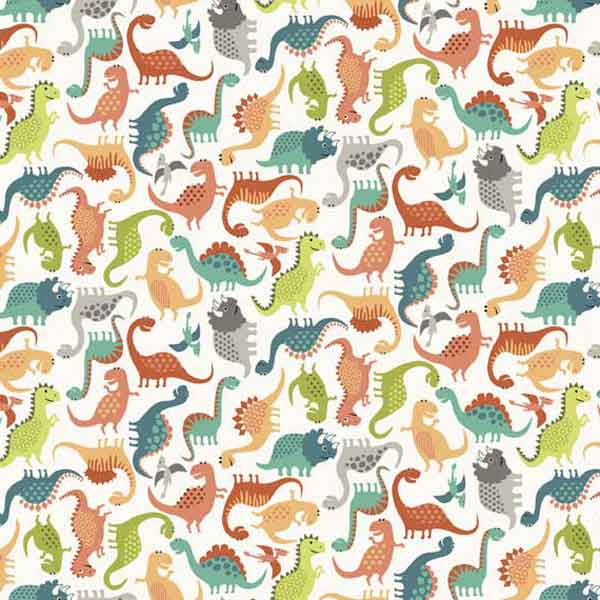 Little Dinosaur Cotton Fabric by Makower from their Rex Collection, Kid's Dinosaur Mini Scatter Cotton Fabric