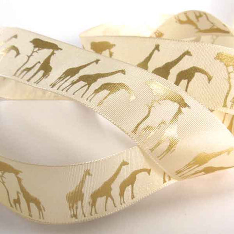 25 mm Gold Giraffe Fabric Ribbon, 1 inch Metallic Giraffe on Cream satin ribbon by Berisfords