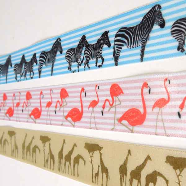 Ribbons featuring zebras, flamingos, and giraffes