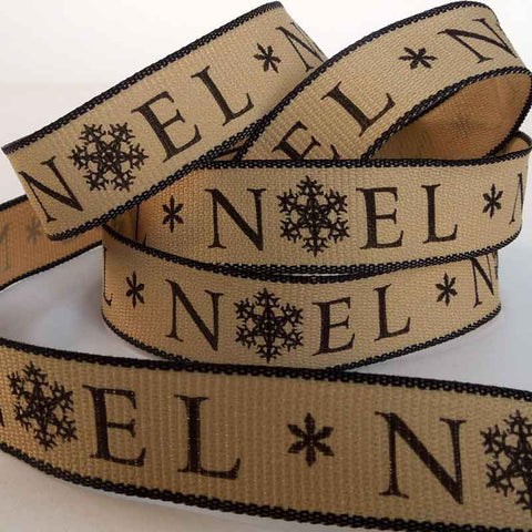 15 mm Noel Christmas Natural Hopsack Style Ribbon by Berisfords part of their Retro Rustic Xmas Collection - Fabric and Ribbon