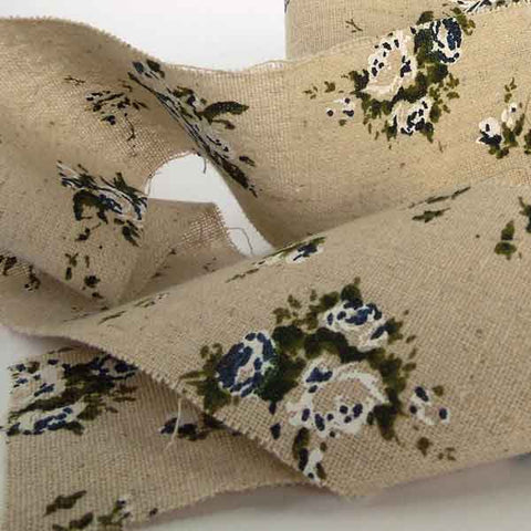 6 cm Blue Floral Linen Ribbon, 2 and 1/4 inch Frayed Edge Linen Tape, 2 Metres of Ribbon