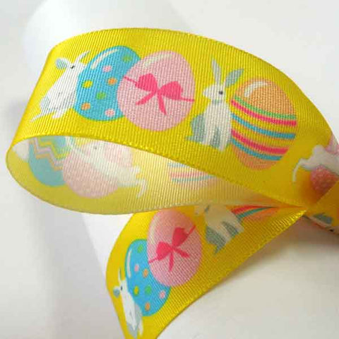 25 mm Easter Bunny Yellow Ribbon, 1 inch Kid's Easter Bunnies and Eggs on Yellow Ribbon