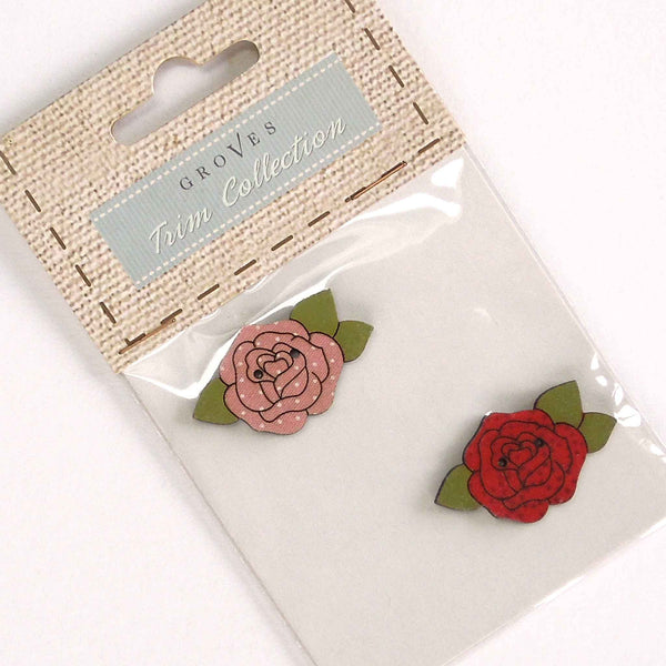 38 mm Large Rose Buttons,  Wooden Flower and Leaf Buttons, Pack of 2 Craft Buttons