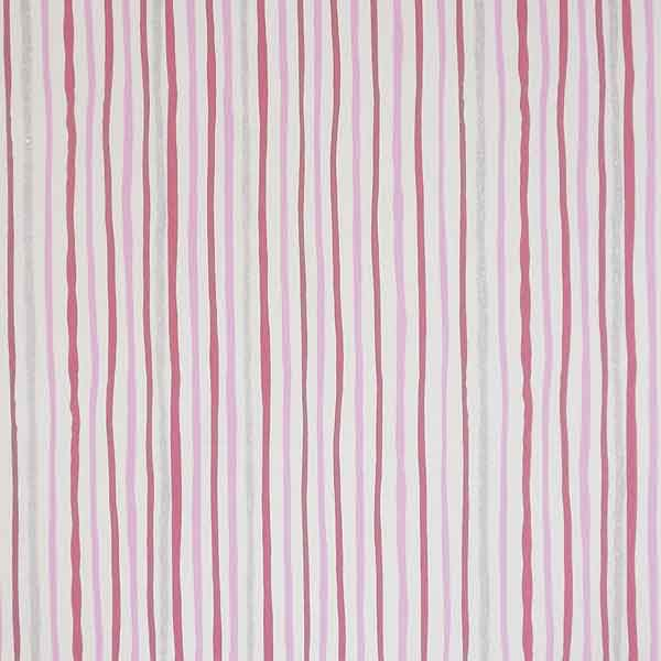 Pink, Silver and White Striped Furnishing Fabric, Shimmer by Clarke and Clarke (formerly Globaltex), part of the All At Sea Collection