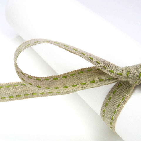 Top Stitched Linen Trim/Ribbon - Natural/Green - Stephanoise - 10mm