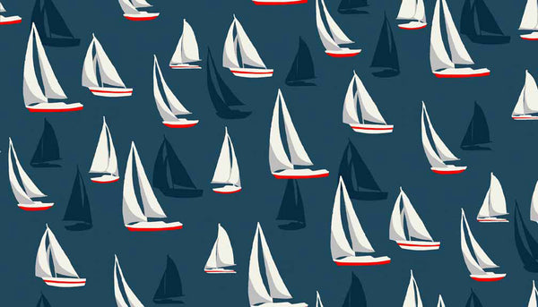 Sail Boats on Blue Cotton Fabric by Makower 1636/B from their Sea View Collection