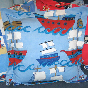 Child's Blue Pirate Galleons Cushion Handmade in a Blue Pirate Ship Cotton, 21 inch x 21 inch, 53 cm x 53 cm