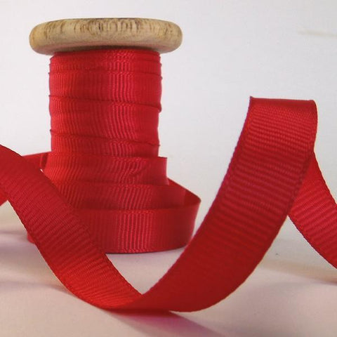 10 mm Christmas Red Ribbon on a Wooden Spool, 3 Metres of 3/8 inch Xma  Red Plain Ribbon on Wooden Bobbin for Gift Wrap and Crafts