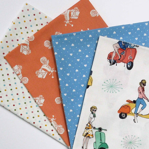 Scooters Fat Quarter Bundle by Makower, 4 Coloured Scooters, Hearts and Polka Dot Pack, Vacation Collection - Fabric and Ribbon