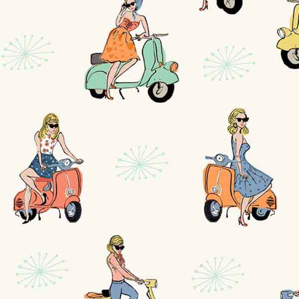 Scooters Cotton Fabric by Makower from their Vacation Collection, Retro Scooter Fabric