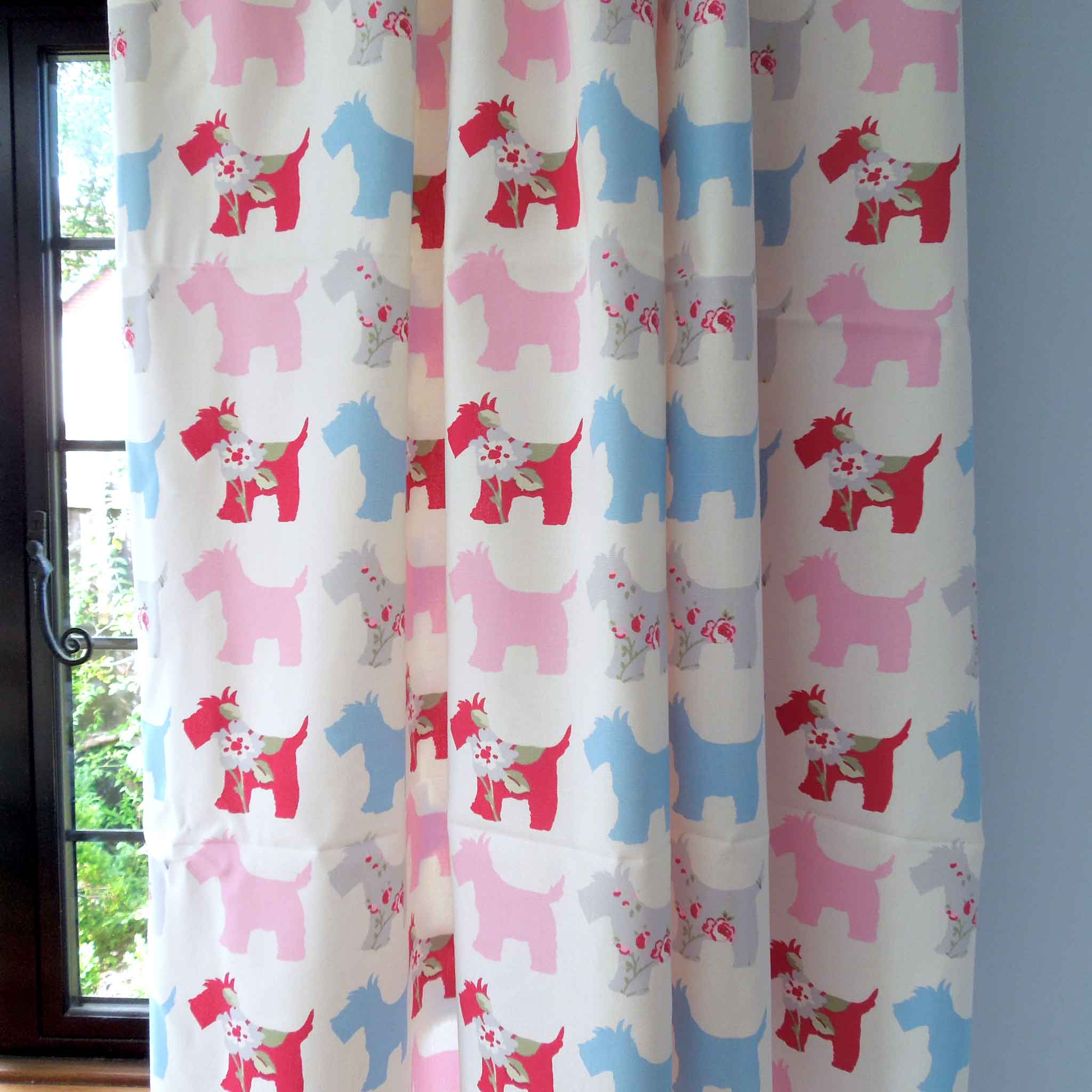 Pink Scotties Cotton Furnishing Fabric by Clarke & Clarke, part of the Vintage Classics collection - Fabric and Ribbon
