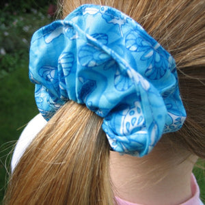 Girl's Turquoise Butterfly Scrunchie, Hairband and Bandana plus Organza Gift Bag, Handmade in Pure Cotton - Fabric and Ribbon