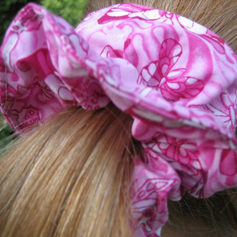 Girl's Pink Butterfly Cotton Scrunchie, Hairband and Bandana, Handmade Hair Accessories in Pure Cotton