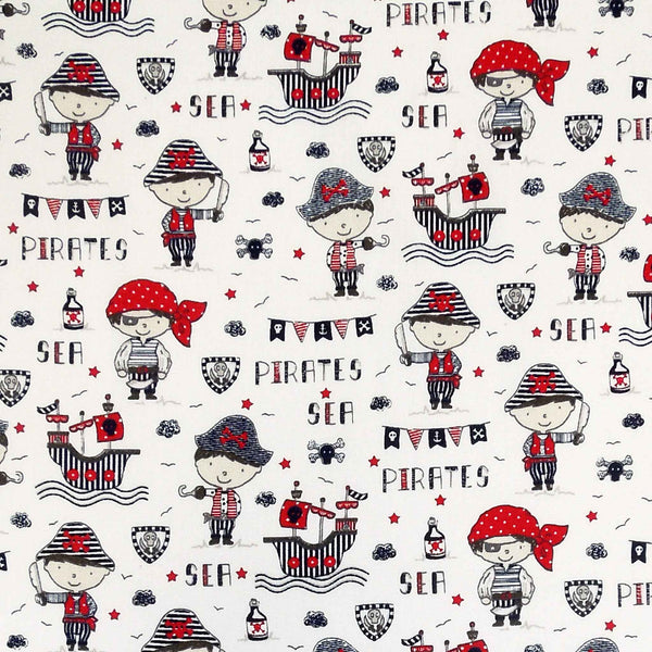 Red Sea Pirates Cotton Fabric, Kid's Pirates and Galleons Cotton Fabric for Sewing and Crafts - Fabric and Ribbon