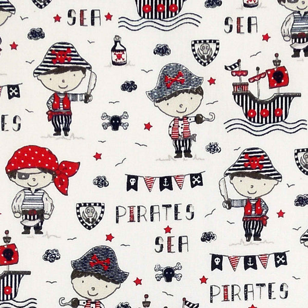 Red Sea Pirates Cotton Fabric, Kid's Pirates and Galleons Cotton Fabric for Sewing and Crafts