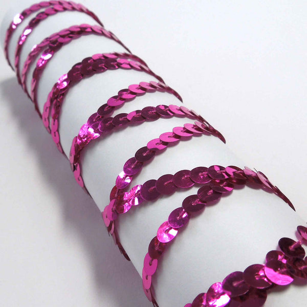 6 mm Bright Pink Sequin Trim on Wooden Bobbin 3 metres