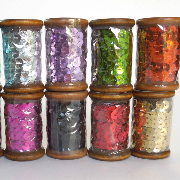 6 mm Copper Sequin Trim on Wooden Bobbin 3 metres