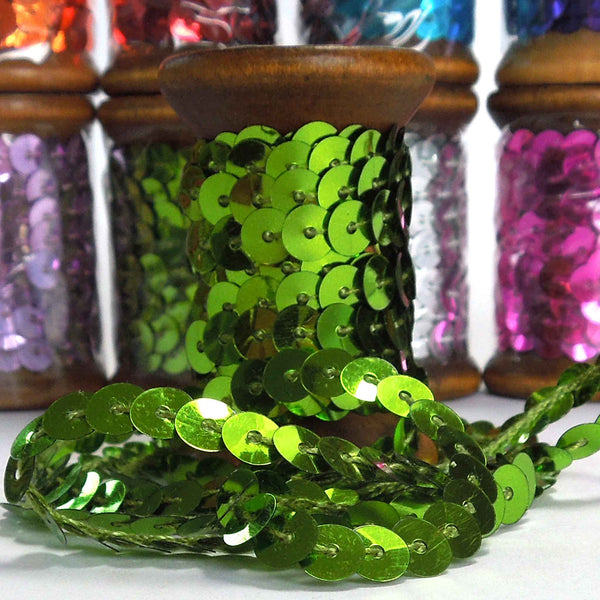 6 mm Green Sequin Trim on Wooden Bobbin 3 metres
