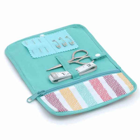 Striped Fabric Roll Sewing Kit, Soft Pastel Home Sewing Kit, Travel Sewing Kit,