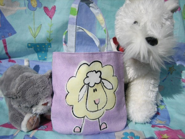 Kid's Cute Sheep Mini Handbag handmade in lilac animal print cotton and fully lined. Mini Tote Bag, Children's Shopping Bag